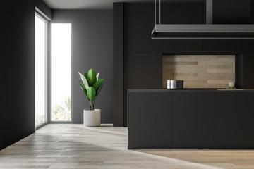 Wooden floor kitchen, black countertops