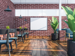 Brick stylish cafe interior, poster