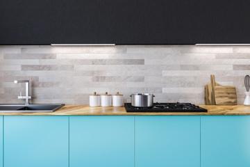 Blue countertops kitchen