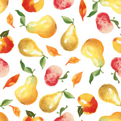 Seamless autumn pattern with apple, pear and leaves