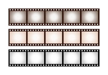 Three vintage stripes of five frames of 35 mm film