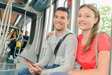 couple in tram