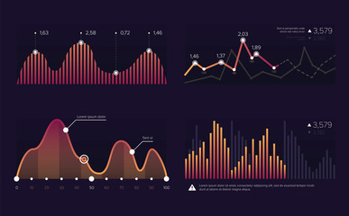 Vector image charts and diagrams for presentation or financial report. Infographics concept.Increase and decrease of indicators in graphic diagram. Clolorful vector illustration.