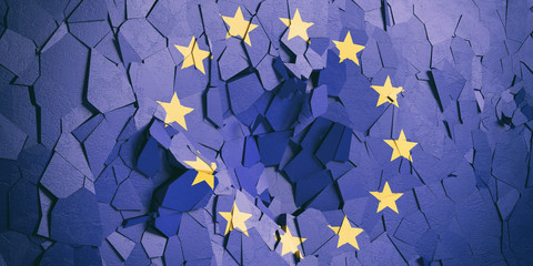 European Union flag on cracked wall background. 3d illustration Fotomurales
