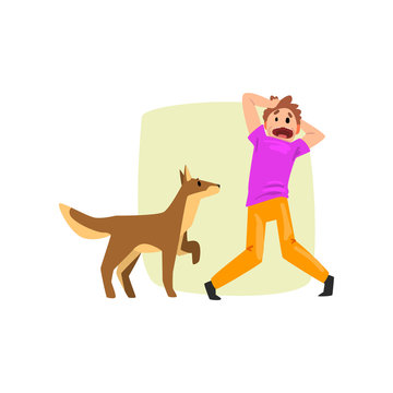 Man frightened by dog, guy suffering from cynophobia, human fear concept vector Illustration on a white background