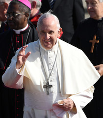 Pope Francis arrives at Dublin International Airport, at the start of his two-day visit to Ireland