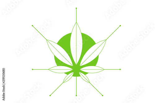 Cannabis Marijuana Hemp Green Leaf Flat Symbol Or Logo Design