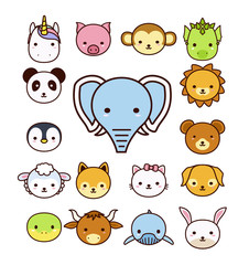 Set of cute cartoon animals on white background.