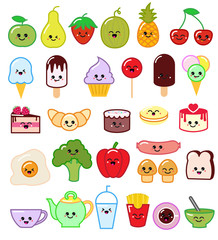 Kawaii food vector emoticon japanese fruit or vegetable character and emoji dish with cartoon sausage in Japan restaurant illustration set of facial emotions isolated on white background