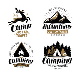 Campaign logo or label. Hiking trip, hike icon set. Typographic design vector