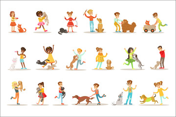 Children And Cats Illustrations Set With Kids Playing And Taking Care Of Pet Animals