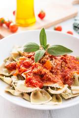 Piatto di farfalle al ragù, Italian pasta with bolognese sauce