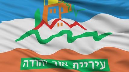 Or Yehuda City Flag, Country Israel, Closeup View