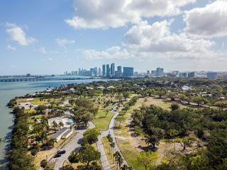 Drone view on the Miami Skyline