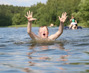 Boy play in water