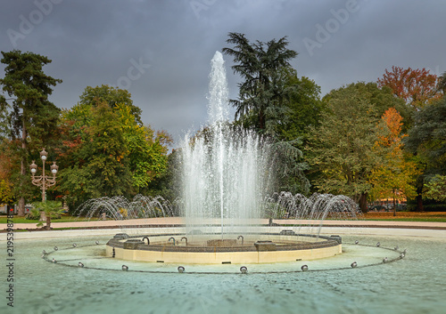 Fountain in the park Jardin du Grand Rond. Toulouse, France.\