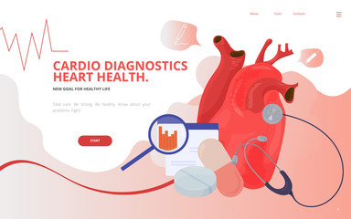 Cardio or cardiovascular heart diagnostics concept vector illustration. Heart or Cardiology diagnostics site landing page wireframe. Cardio or Cardiology conference report presentation template.