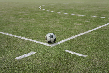 Soccer ball on sports field at boundary line. Close up
