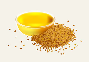 sesame oil with glasses bowl vector / brown