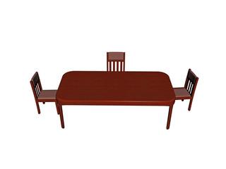 Hölzerner Esstisch mit Stühlen