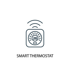 smart thermostat concept line icon. Simple element illustration