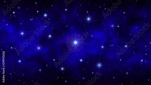Night starry sky with moving smoke, fog, dark blue dynamic