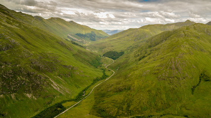 Drone Photography  aerial view of Scotland Highlands Landscape
