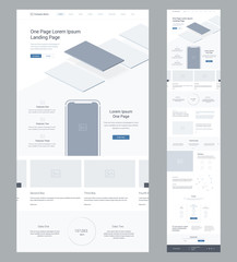 One page website design template for business. Landing page wireframe. Flat modern responsive design. Ux ui website: home, features, explore, blog, order, offer, prices, partners, info,  subscribe.