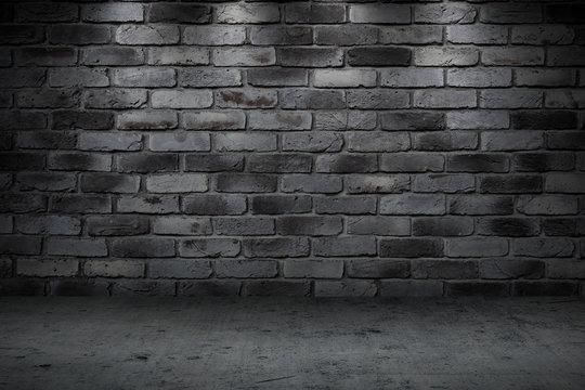 Stone wall dark night alley quiet street for background