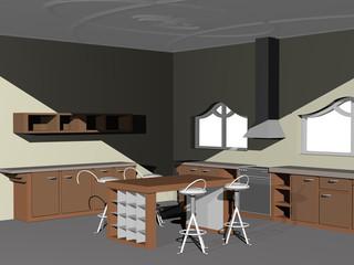 Küche mit Möbeln