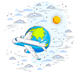 Plane airliner with earth planet in the sky surrounded by clouds, airlines air travel illustration. Beautiful thin line vector isolated over white background.