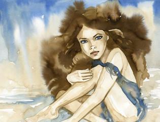Keuken foto achterwand Schilderkunstige Inspiratie Woman watercolors.