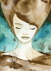 Photo sur Toile Inspiration painterly Woman watercolors.