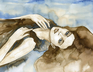 Photo sur Aluminium Inspiration painterly Woman watercolors.