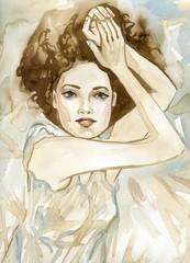 Fotobehang Schilderkunstige Inspiratie Woman watercolors.