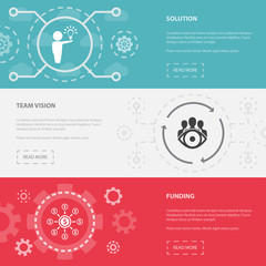 Startup 3 horizontal webpage banners template with Solution, Team vision, Funding concept icons. Flat modern isolated icon illustration.