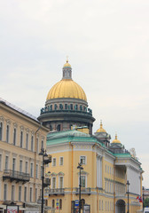 Saint Isaac's Cathedral Dome Colonnade View in Saint Petersburg, Russia. Orthodox Church and Classic City Architecture Buildings View from Local Street. Saint Petersburg City Landmarks Outdoor Image