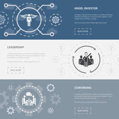 Startup 3 horizontal webpage banners template with Angel investor, Leadership, Coworking concept icons. Flat modern isolated icon illustration.