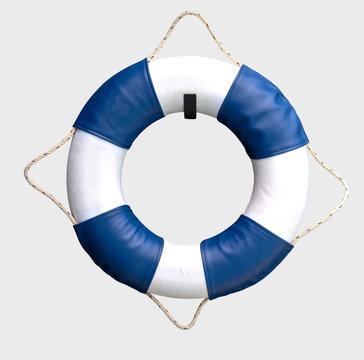 White and blue lifebuoy on white background.