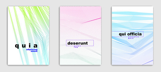 Linear vector minimal trendy brochures set design, cover templates, geometric halftone gradient. For Banners, Placards, Posters, Flyers. Beautiful and special, pattern texture.
