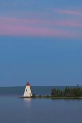 Wall Mural - Kidston Island Lighthouse at twilight in Baddeck, Nova Scotia