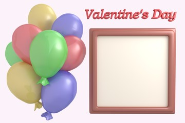 Multicolored balloons and frame for photo 3d render illustration, Valentine's Day