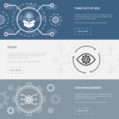 Project management 3 horizontal webpage banners template with Think out of box, Vision, task management concept icons. Flat modern isolated icon illustration.