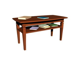 Brauner Tisch mit Büchern