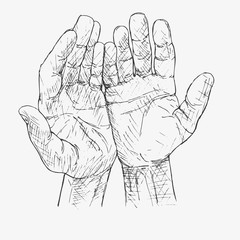 Human hands folded in prayer. Hand drawn vector illustration. Appeal to the God. Faith and hope. Religion