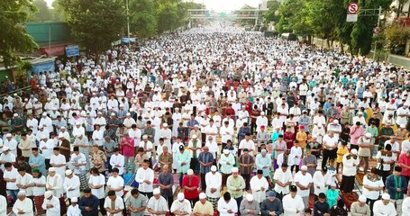 020 Jakarta Indonesia August 21 2018 Crowded Muslims Prayers Praying On Eid
