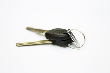 Car key and block key isolated on white background