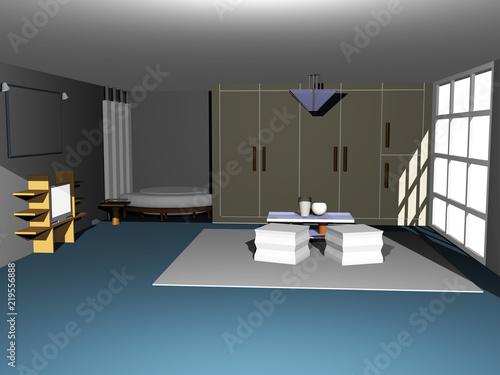 Wohnzimmer Mit Großer Fensterfront Stock Photo And Royalty Free