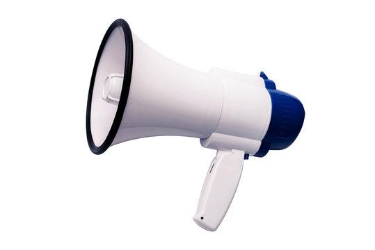 Blue white bullhorn public address megaphone on white background.