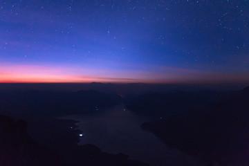 Mae Ping national park with stars at sunrise, Pha dang luang view point  Li, Lamphun in Thailand